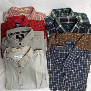 Lot of 8 Mens Button Up shirts size XL